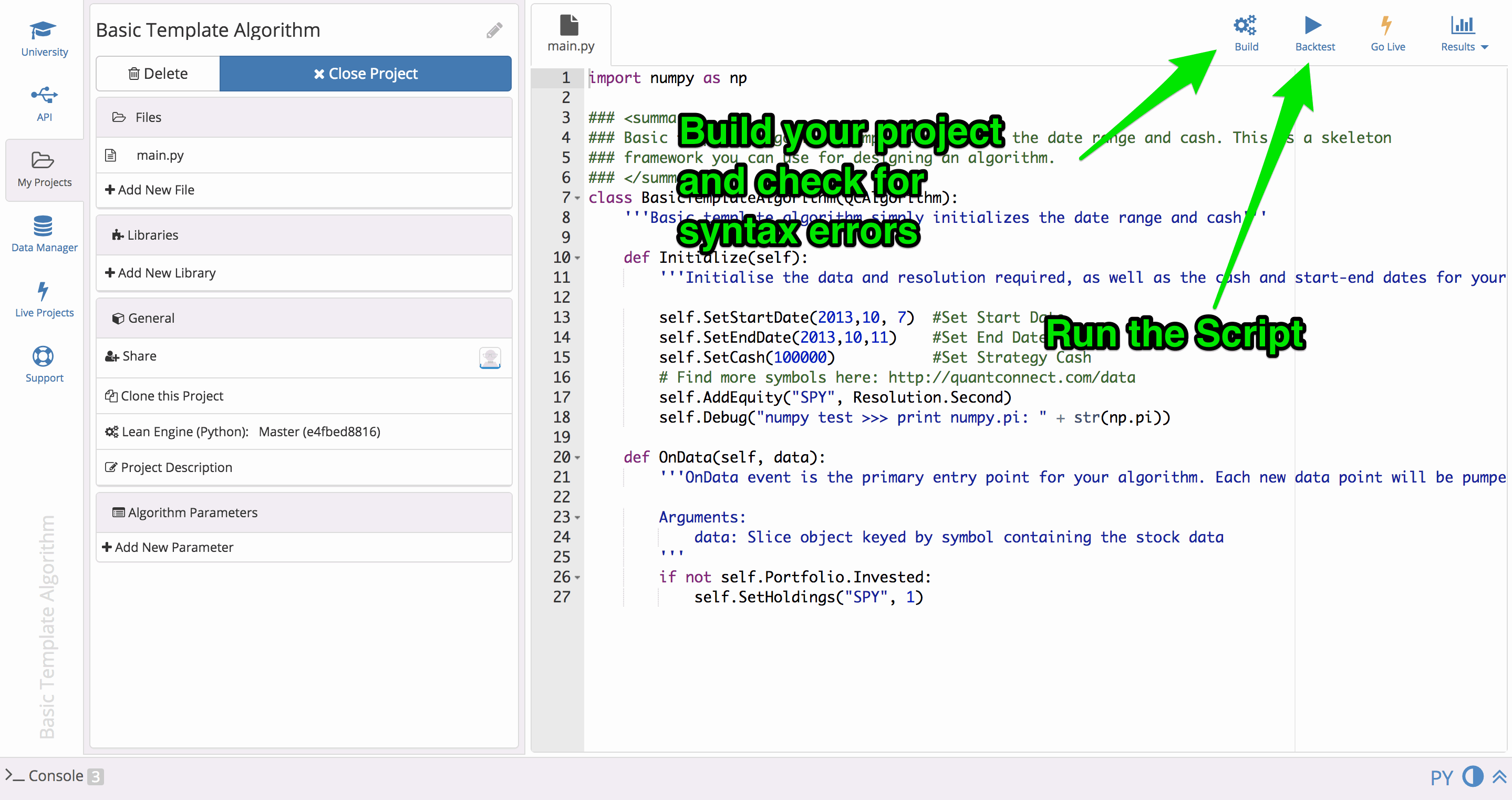 QuantConnect Tutorial: Build and Run
