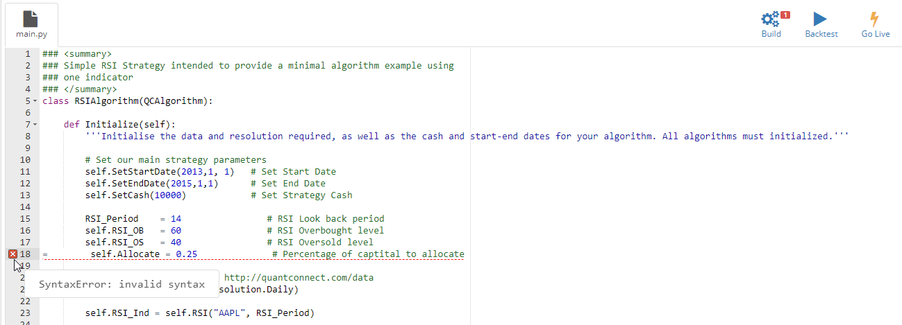 Screenshot Syntax Error Highlighting