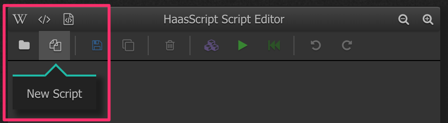 A picture showing where to click to create a new script
